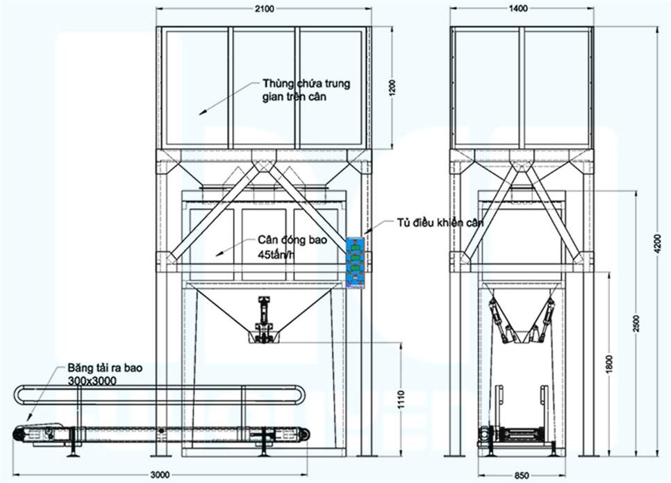 Kích thước cơ bản cân đóng bao tự động PM45