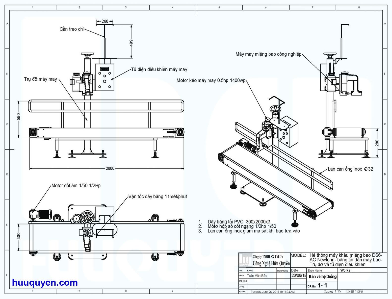 Thông số kích thước hệ thống băng tải trụ đỡ tủ điều khiển may bao công nghiệp