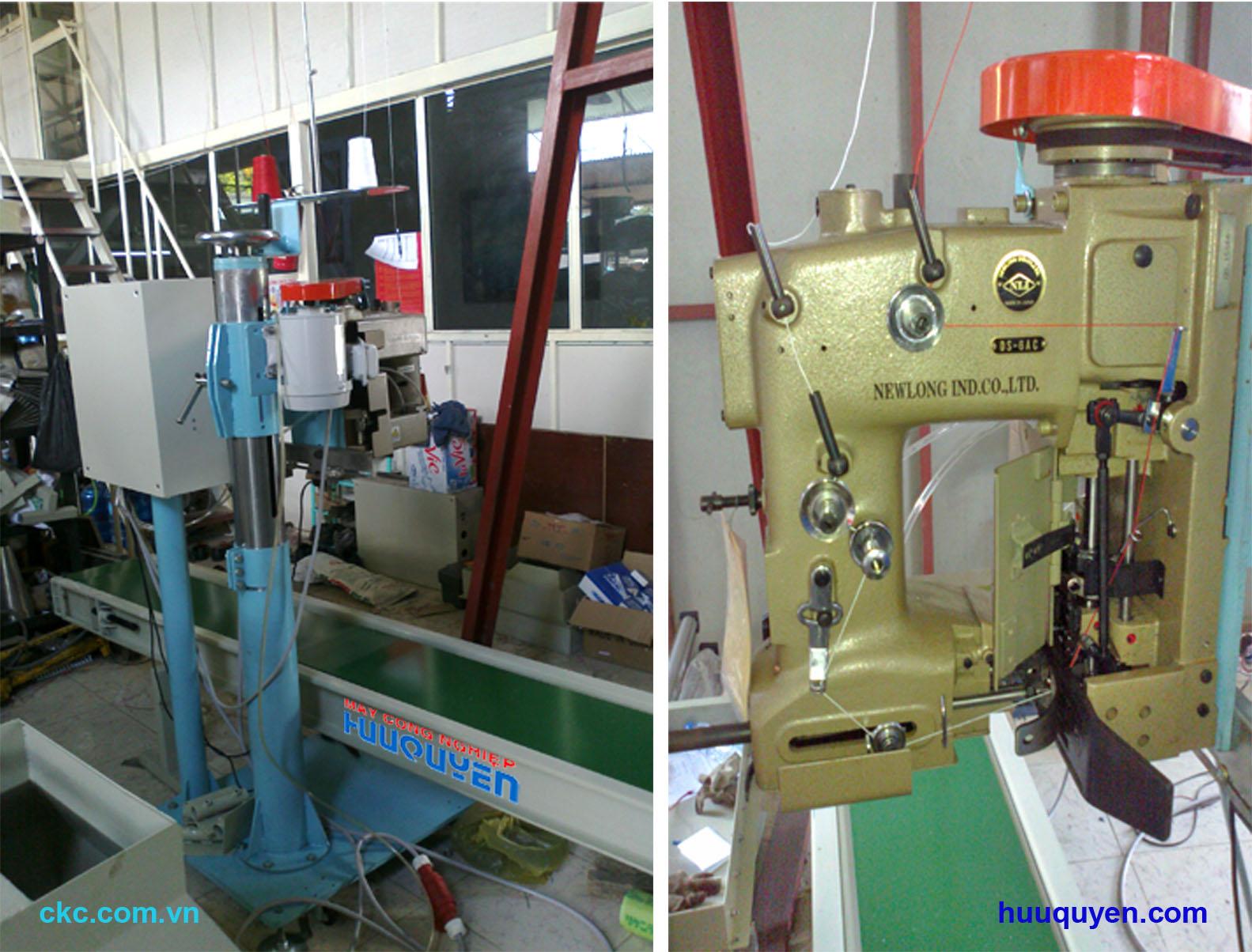 Băng tải trụ đỡ tủ điện máy khâu miệng bao công nghiệp Newlong