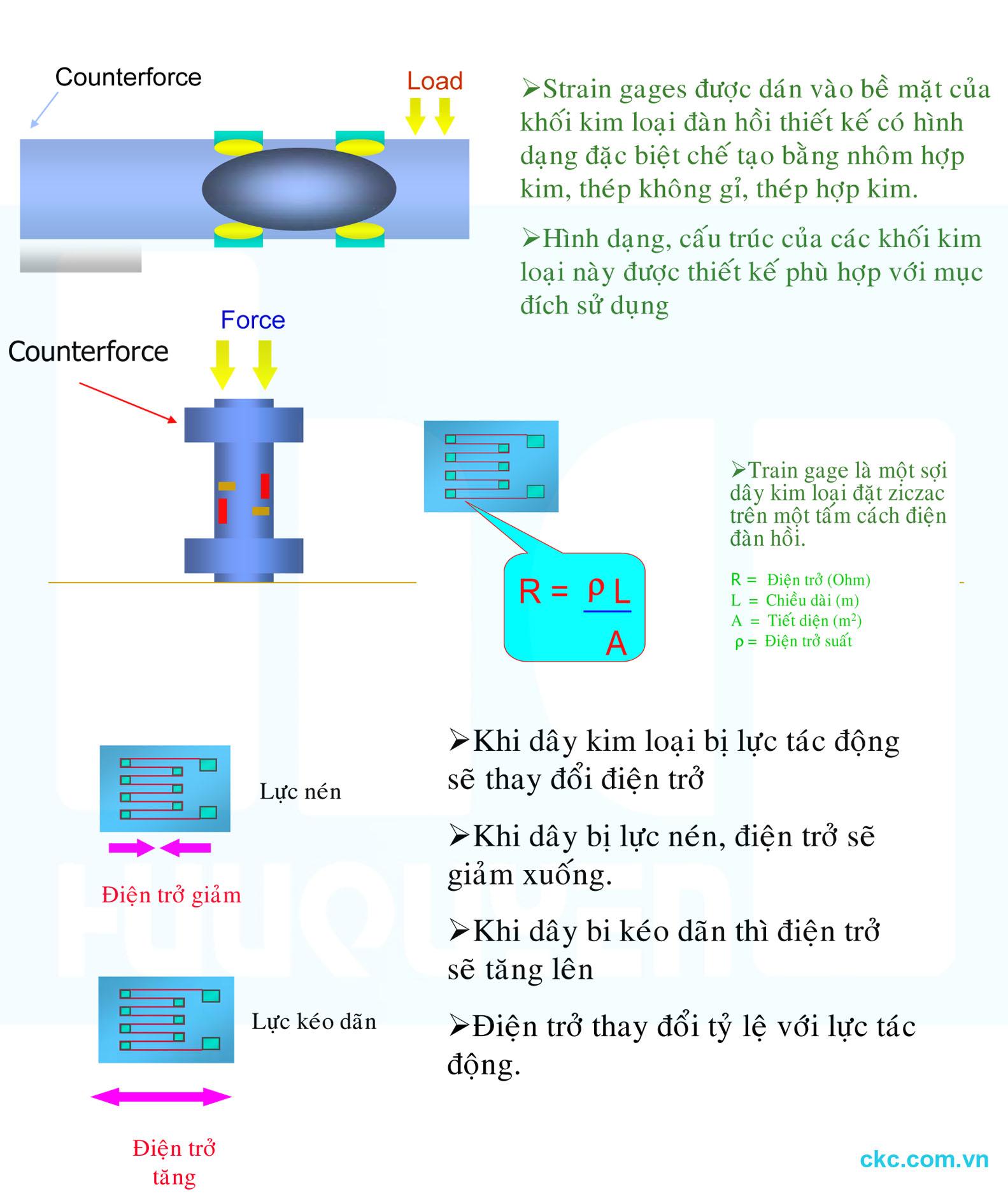 Nguyên lý hoạt động của mạch cầu Wheatstones dây điện trở dán lên thân loadcell